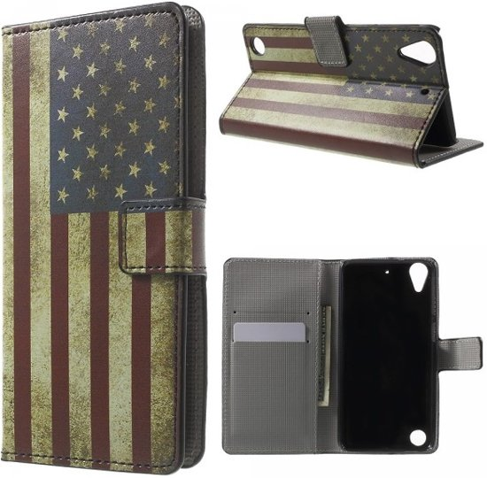qMust - HTC Desire 530 hoesje - Book Wallet Case - USA in Hulshorst