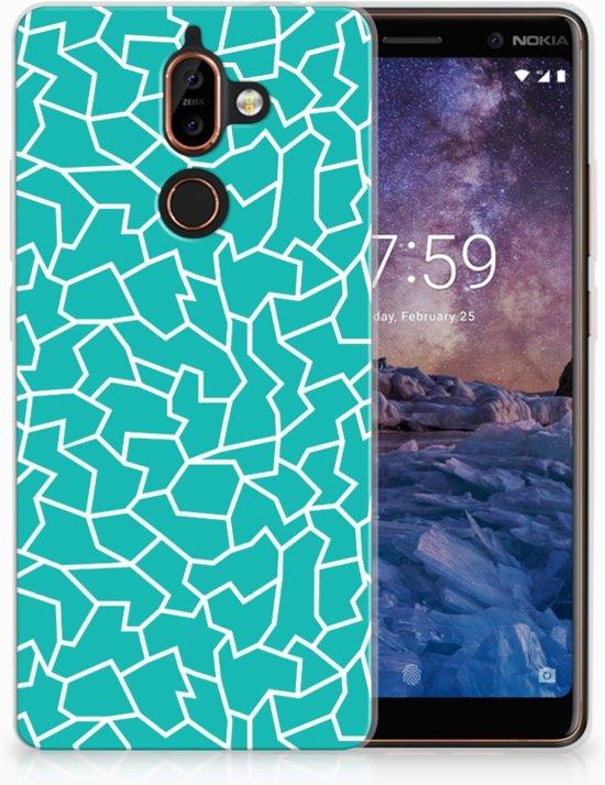 Nokia 7 Plus TPU Hoesje Design Cracks Blue