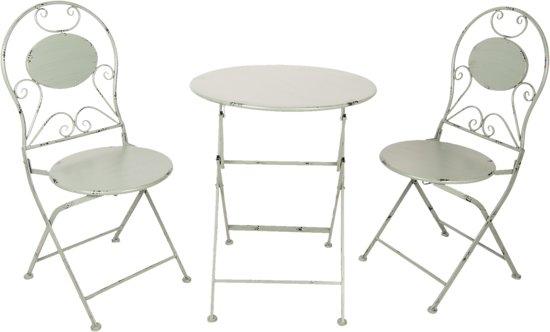 Tafel + 2 stoelen ø 60*70 / 2x ø 40*40*92 cm Grijs | 5Y0631 | Clayre & Eef