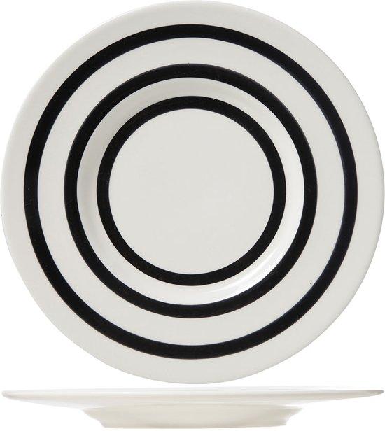 Cosy & Trendy 6385036 Bord Rond Keramisch Zwart, Wit bord