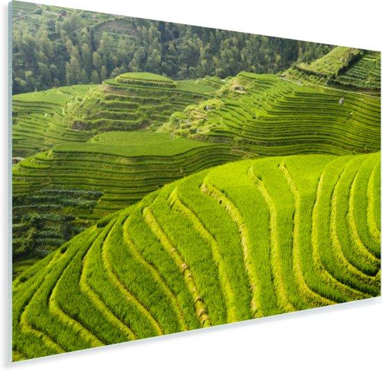 Bovenaanzicht van de Rijstterrassen van Lóngjĭ in China Plexiglas 180x120 cm - Foto print op Glas (Plexiglas wanddecoratie) XXL / Groot formaat!