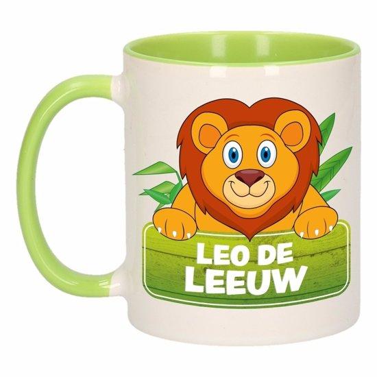 1x Leo de Leeuw beker / mok - groen met wit - 300 ml keramiek - leeuwen bekers