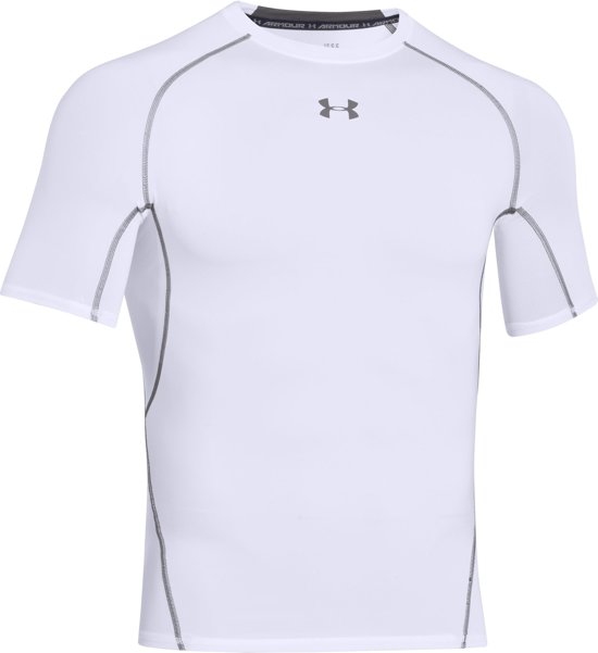 Under Armour HG Armour SS Heren Sportshirt - Wit - Maat XL