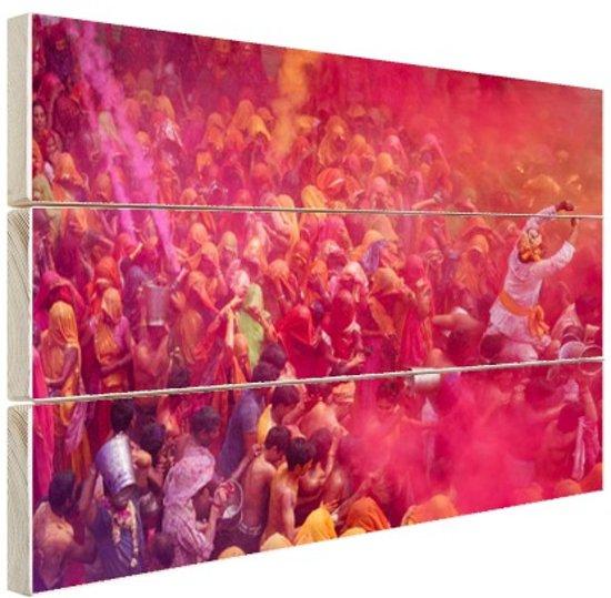 Holi festival vieringen Hout 60x40 cm - Foto print op Hout (Wanddecoratie)