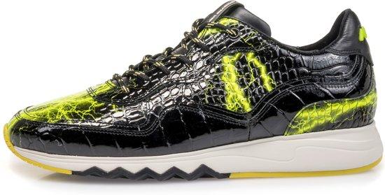 Floris Van Bommel sneaker zwarte lak met gele print