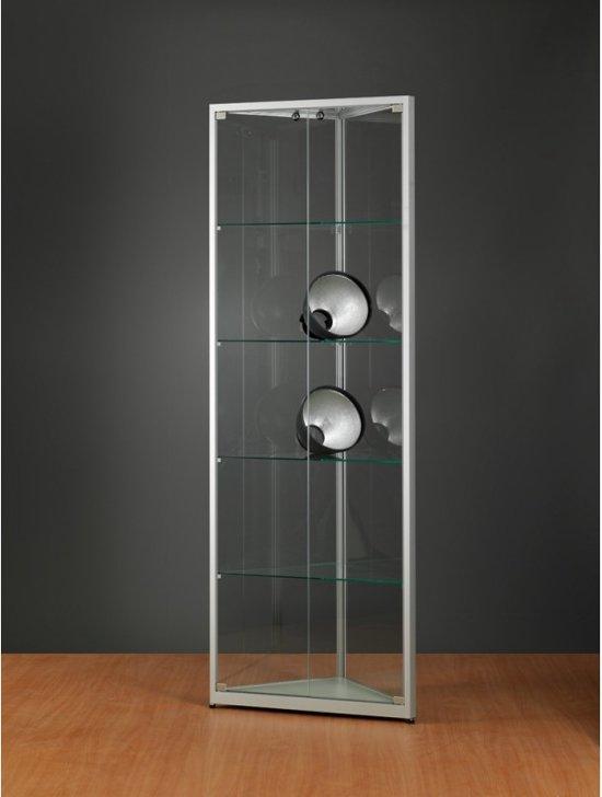 Hoek Vitrinekast Glas.Bol Com Luxe Vitrinekast Hoek Aluminium 50 Cm