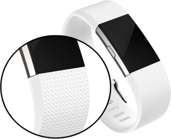 YONO Siliconen bandje - Fitbit Charge 2 - Wit - Small