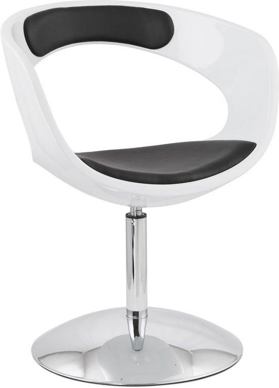 Zwarte Lounge Stoel.24designs Draaibare Lounge Stoel Burguret Witte Zwarte Zitting Chromen Onderstel