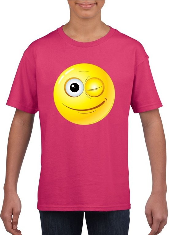 Smiley/ emoticon t-shirt knipoog  roze kinderen M (134-140)