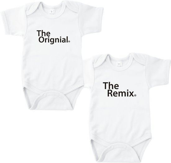 Baby rompertje The original. The Remix. | Korte mouw 74/80 wit