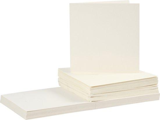 Kaarten en enveloppen, afmeting kaart 15x15 cm, afmeting envelop 16x16 cm, 50 sets, off-white