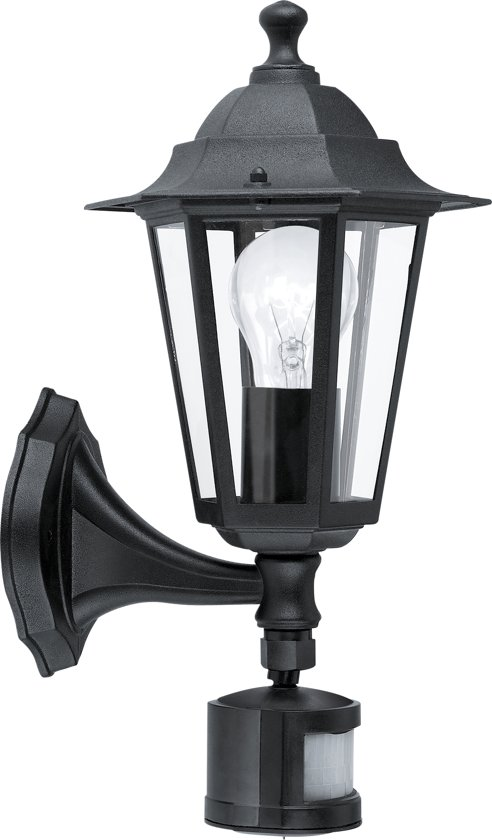 Buitenverlichting Met Sensor.Eglo Laterna 4 Buitenverlichting Wandlamp Met Sensor 1 Lichts Zwart