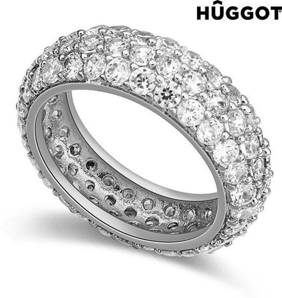 Hûggot Prinses Ring van geplateerd rhodium met zirkonen 18,1 mm