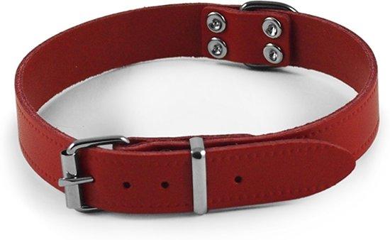 Nobby halsband leer rood 28-35 x 1,4 cm - 1 st
