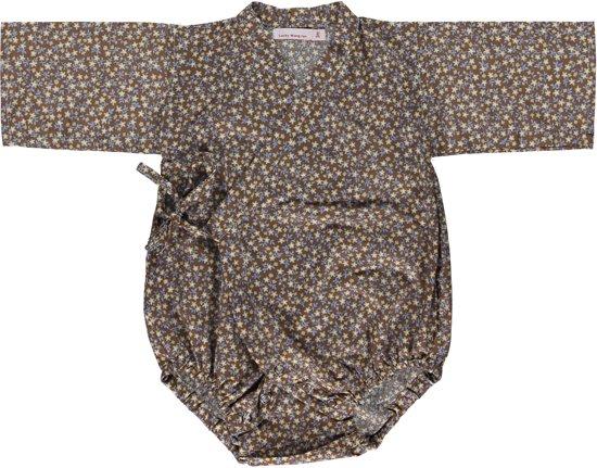 Lucky Wang NY Meisjes Kimono bruin gebloemd Onepiece ls - LW15 - Maat 62