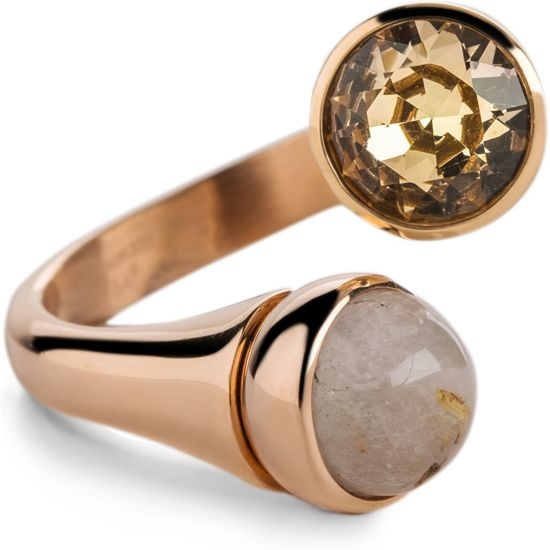 Melano Twisted Tulip ring set - dames - roségoudkleurig - salmon - 4mm - maat 50