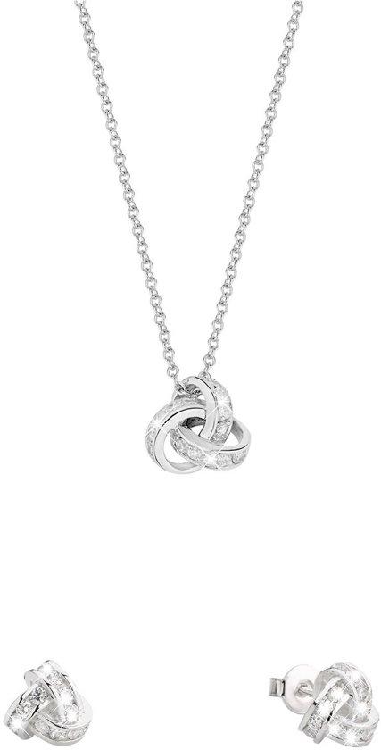 Lucardi - Zilveren set ketting&oorbellen knoop zirkonia - maat