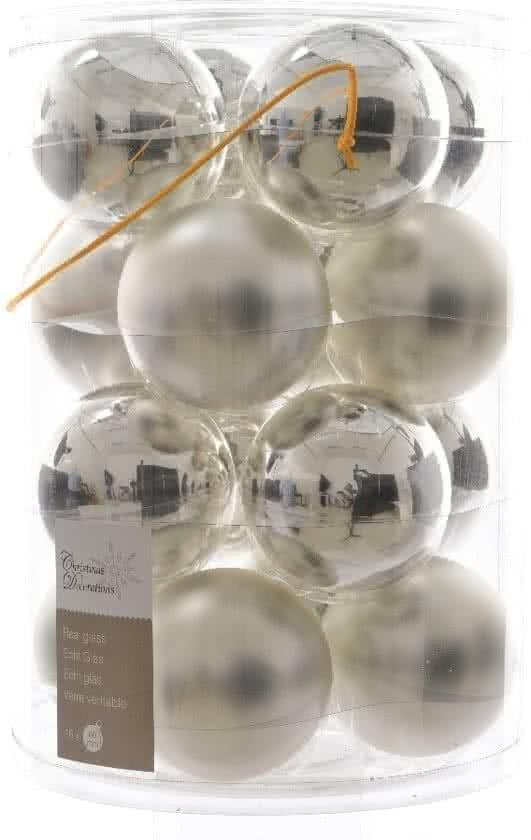 Bol Com Glas Kerstballen 80mm Box 16 Stuks Zilver