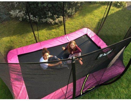 EXIT Silhouette inground trampoline 214x305cm met veiligheidsnet - roze