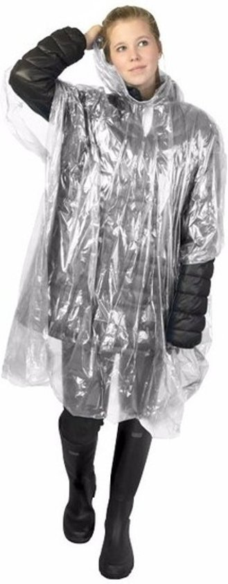 5x wegwerp regenponcho transparant - poncho