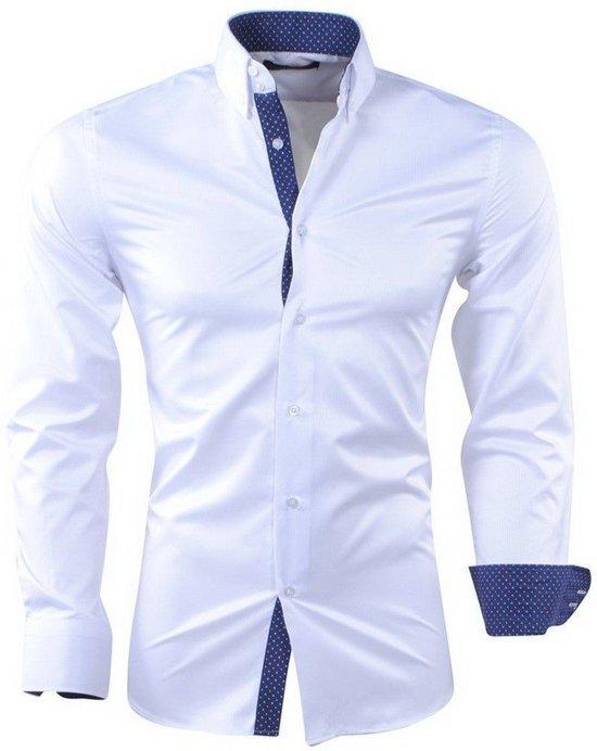 Heren Overhemd Wit.Bol Com Montazinni Heren Overhemd Gestippelde Kraag