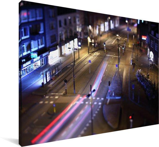 De straten in de Nederlandse stad Eindhoven Canvas 90x60 cm - Foto print op Canvas schilderij (Wanddecoratie woonkamer / slaapkamer) / Europese steden Canvas Schilderijen