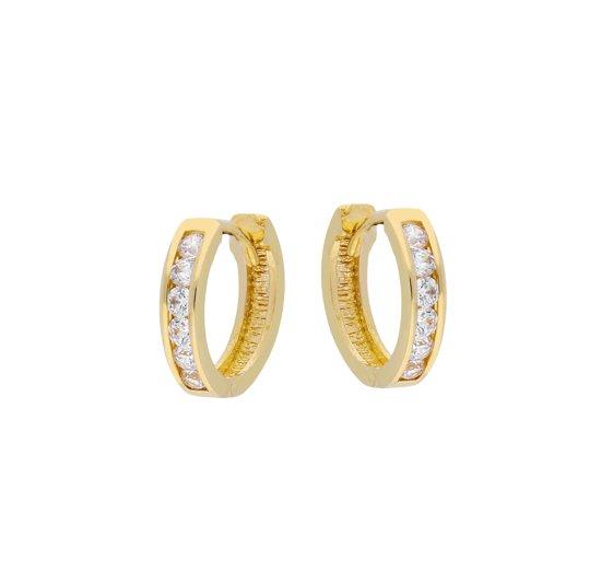 Glow oorringen - geelgoud - scharnier - zirkonia - 11x2.5 mm