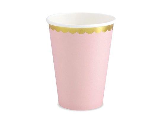 Papieren Bekers - Roze met metallic gouden randje (6 stuks) - Partydeco