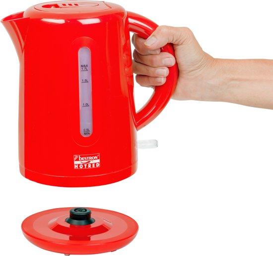Bestron Draadloze elektrische 2waterkoker 1,7 L rood 2200 W AWK300HR