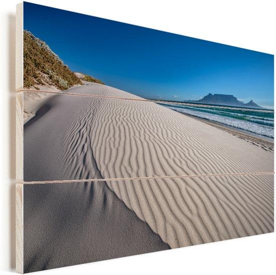 Uitzicht op de Tafelberg vanaf Bloubergstrand Vurenhout met planken 120x80 cm - Foto print op Hout (Wanddecoratie)