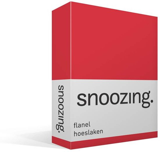 Snoozing flanel hoeslaken Rood 1-persoons (80/90x200 cm) (90 rood)