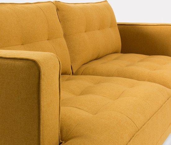 LaForma Vinny Bank 3-Zits - Mosterd Gele Stof - Metalen Poten