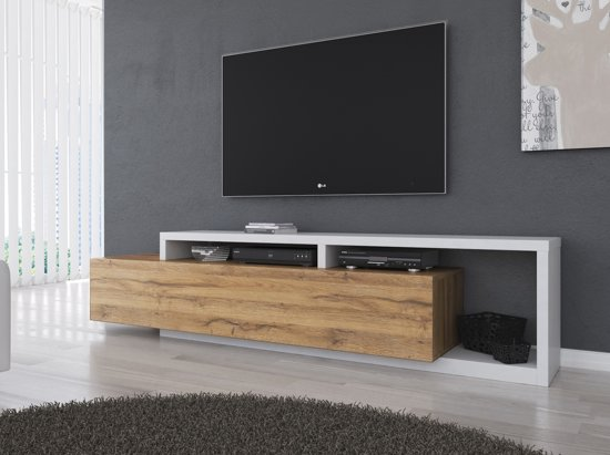 Tv Meubel Wit Eiken.Bol Com Meubella Tv Meubel Bello Eiken Wit