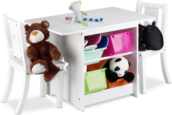 Kinderstoel Tafel Stoel.Bol Com Relaxdays Kindertafel Met Stoelen Opbergruimte