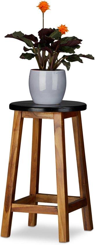 relaxdays plantenkruk ster - ronde kruk - hout - bloementafel - krukje - decoratief zwart L