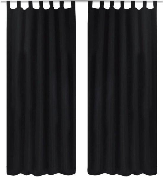 vidaxl micro satijnen gordijnen met ringen 140 x 225 cm 2 stuks zwart