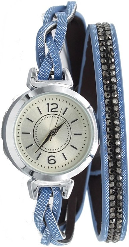 Wikkelarmband met Horloge - Kristallen - Quartz - PU-imitatieleer - Kast 30mm - Blauw - Musthaves