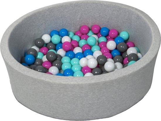 Zachte Jersey baby kinderen Ballenbak met 150 ballen,  - wit, blauw, roze, grijs, turkoois