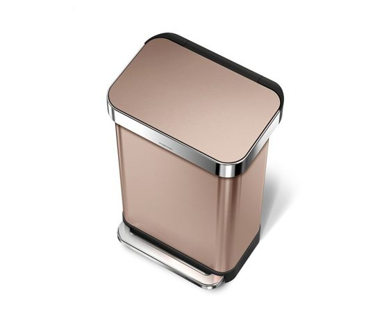 Simplehuman Rectangular Liner Pocket 45 Liter RVS Rose Gold