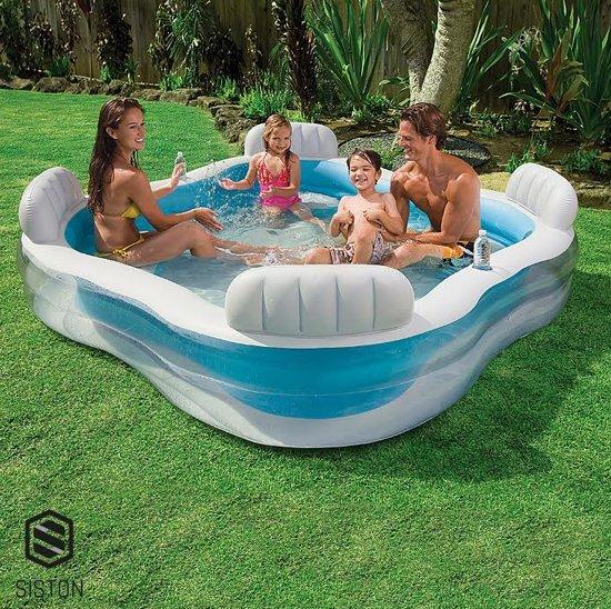 Family Lounge zwembad - 229 x 229 x 66 cm - Opblaasbaar Familie Zwembad met Ingebouwde Zitjes - Family Zwembad Speelgoed - Luchtbed - Water - Familiebad