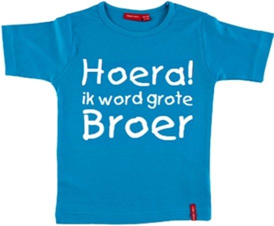 T-shirt | Hoera! ik word grote broer | aqua | maat 110/116