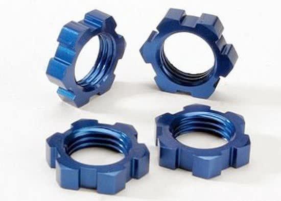 Wheel nuts, splined, 17mm (blue-anodized) (4)