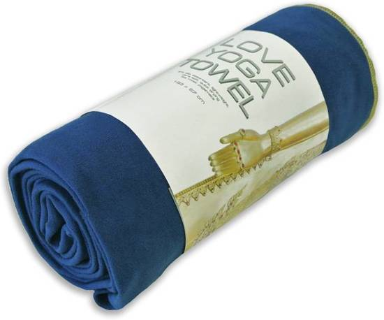 Love Generation - Love Yogatowel - Fitnesstowel - 183 cm x 67 cm - Blauw - Anti Slip Microvezel