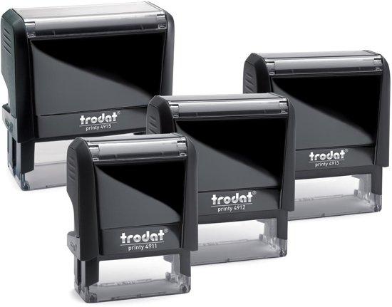 4x Trodat Printy tekststempel, met voucher Printy 4911, 38x14mm, op blister