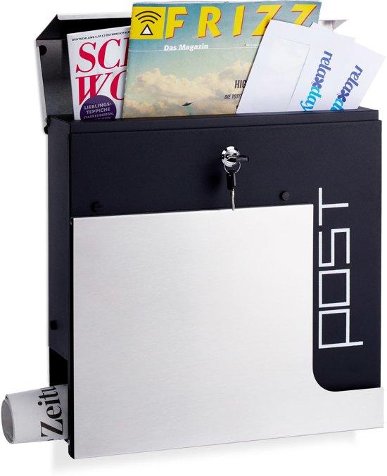 relaxdays design brievenbus met slot - krantenrol - A4 formaat wandmodel - wandbrievenbus zilver