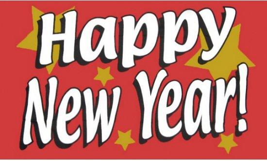 Happy new year vlag 150 x 90 cm
