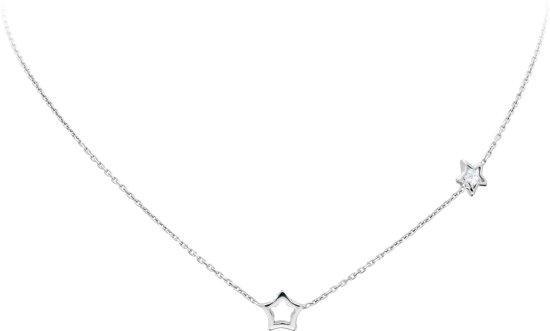 Lilly ketting opengewerkte ster en ster met zirkonia - zilver - transparant - gerodineerd - anker - 38+2cm