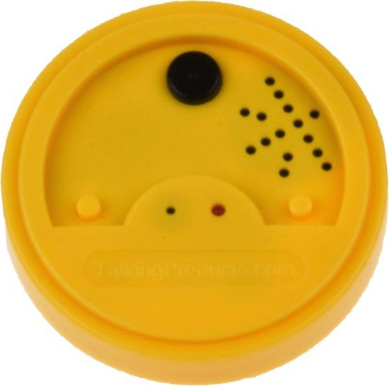 Magnetische Praatknop Geel (Talking Tin) met 20 sec opname tijd.