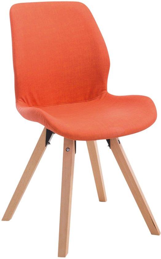 Clp Perth - Eetkamerstoel - Vierkant frame - Kunstleer - Oranje Kleur onderstel : natura