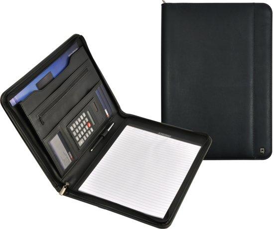DESQ - Conferentiemap - A4 - Kunstleer - Met ritssluiting, schrijfblok en rekenmachine - Zwart